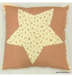 Cojín estrella rosa palo cuadrado