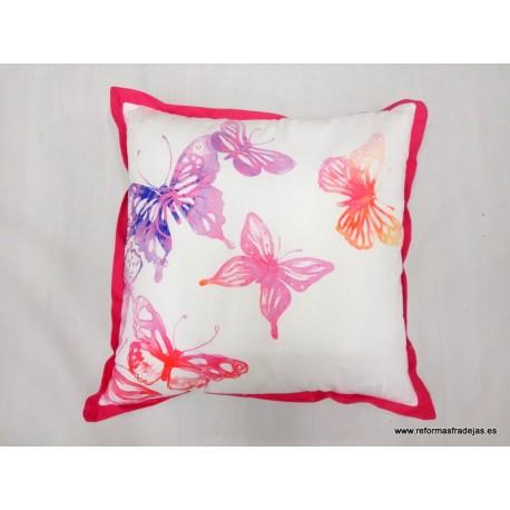 Cojín Rosa Fucsia mariposas